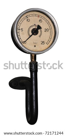 Old steam manometer (showing zero bar) isolated on white.
