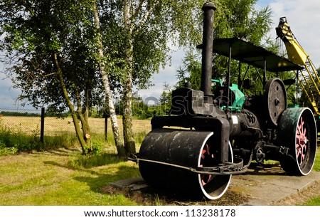Old steam roller - symbol of industrial revolution