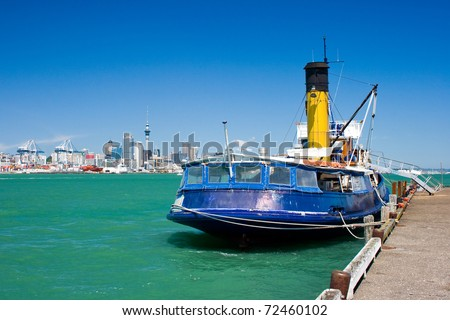 Old steam ship at rest in Auckland, New Zealand - stock photo