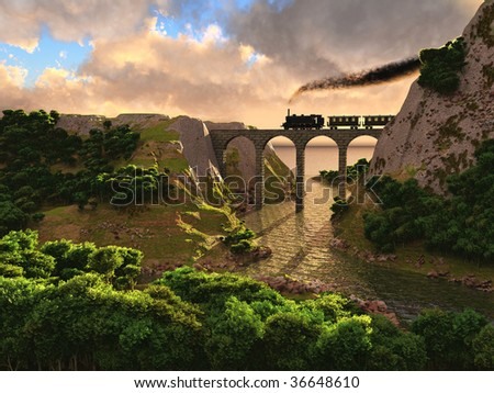 Old steam train crossing a bridge over sunset background (3D)