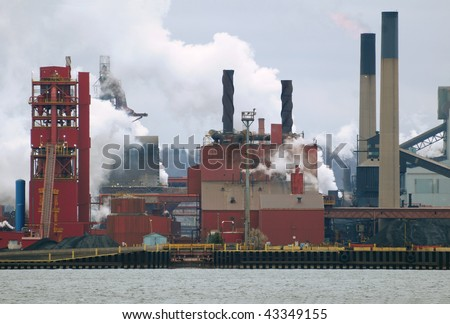 Old steel manufacturing plant - stock photo