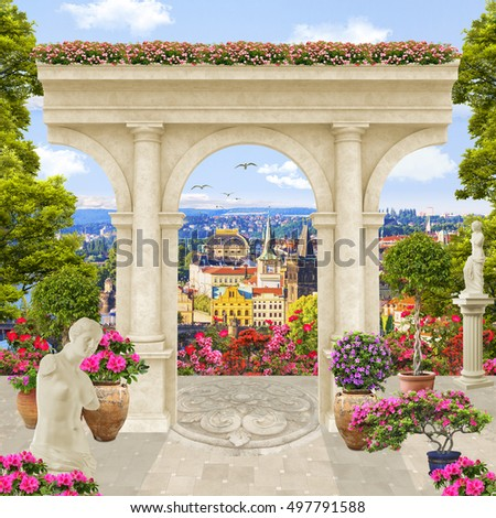 stock photo old stone arch at balcony with flowers summer street view 497791588 - Каталог — Фотообои «Балконы, арки»