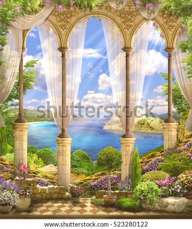 stock photo old stone arch view the sea flowers wisteria the sun s rays and the summer sky 523280122 - Каталог — Фотообои «Балконы, арки»
