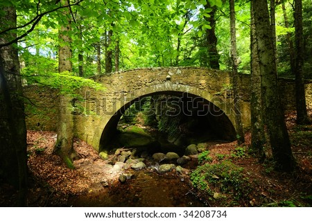 Old stone bridge across small stream in the woods