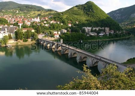 Old Stone Bridge on the Drina in Visegrad work Mehmed Pasha Sokolovic - stock photo