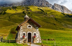 Old stone chapel in mountains. Mountain chapel view. Chapel in mountains. Stone chapel in mountains