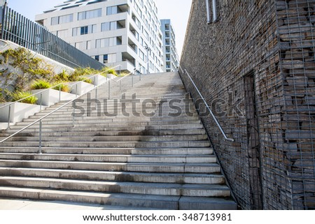 Old stone city staircase. Paris, France. #348713981