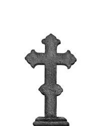 old stone cross tombstone isolate on white background. Cross Cemetery Tombstone. condolence, mourning cards or obituary. Religion, faith, death concept.