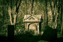 Old stone crosses and crypt at ancient cemetery. Abandoned graveyard