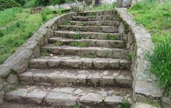 old stone garden stair case