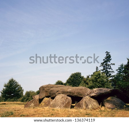 Old stone grave like a big dolmen in Drenthe Holland. It is called in Dutch a Hunnebed