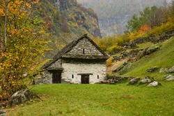 Old stone house in the mountains of Switzerland Tessin