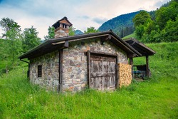 Old stone house in the mountains of Val Sabbia, province of Brescia, in upper Val Trompia, in Lombardy, Italy.