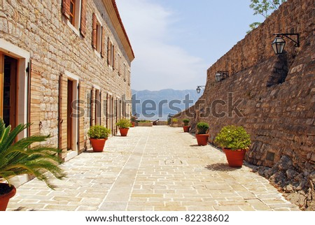 Old stone italian terrace. Perspective view with seascape.