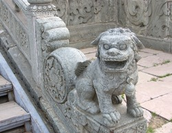 Old  stone lion figure