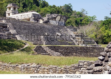 Old stone palace with staircase in Palenque, Mexico