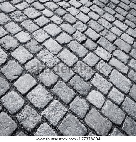 Old stone paved avenue street road