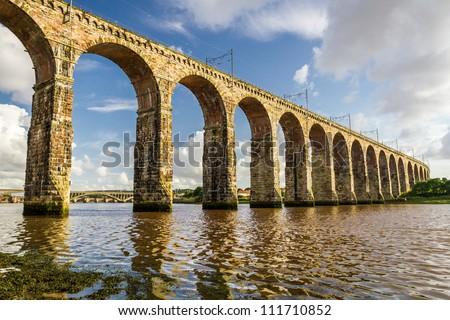 Old stone railway bridge in Berwick-upon-Tweed