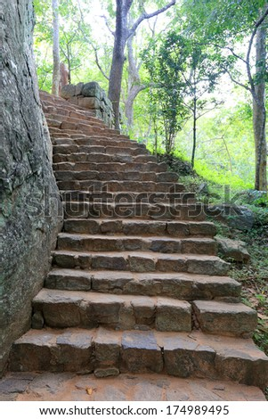 old stone's stairs in antique...