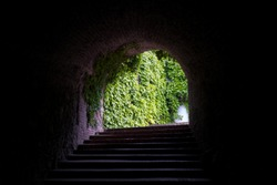 Old stone stairs to exit of an underground passage at Petrovaradin Fortress in Novi Sad, Serbia