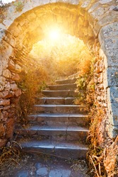 Old stone stairways to the Palamidi fortress, Nafplio, Greece