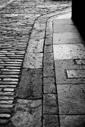 Old stone street gutter in Edinburgh