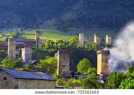 Old stone towers, svaneti towers, Mestia, Svaneti,  Georgia,  Caucasus Mountains, Caucasus,  Europe