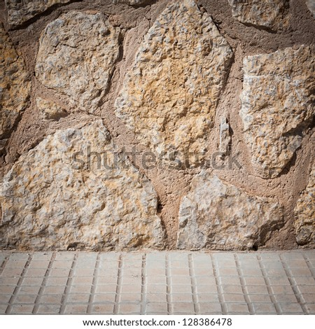 Old stone wall and floor texture background