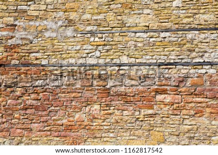 Old stone wall background with stone and brick pattern