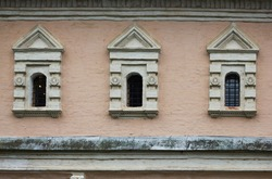 Old stone Windows in the old Russian style. An old window of a 16th-century Church in Russia.