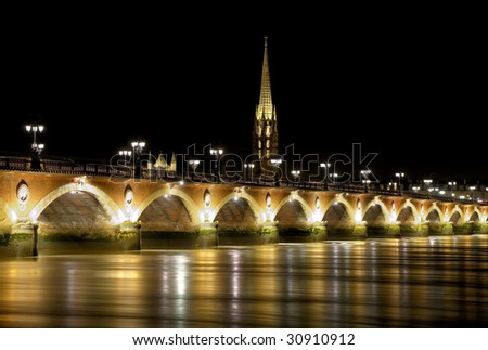 Old stony bridge in France (Bordeaux).