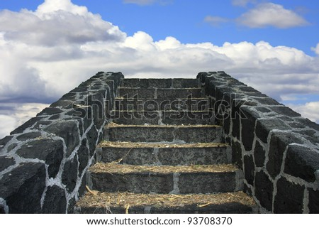 Old stony staircase leading to the sky