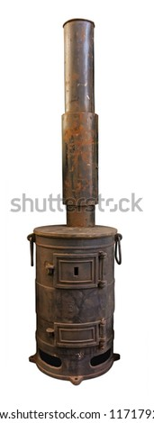 Old stove with chimney isolated. Clipping path included.