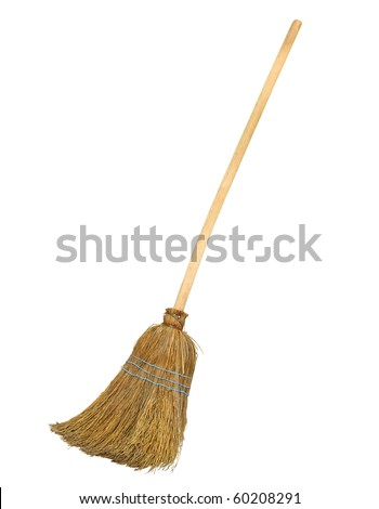 Old straw broomstick ready fly or sweep isolated on white background