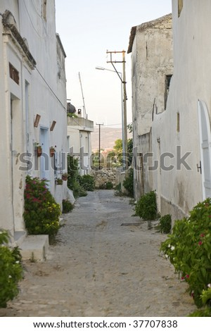 Old street and house in Alacati, Izmir, Turkey