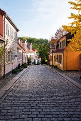 Old street at early autumn. Odense, Denmark.