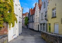 Old street in Bruges (Brugge), Belgium. Cityscape of Bruges. Typical architecture of Bruges