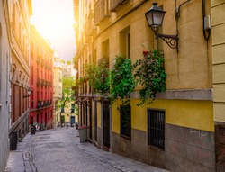 Old street in Madrid, Spain. Architecture and landmark of Madrid