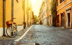 Old street in Rome, Italy. Architecture and landmark of Rome