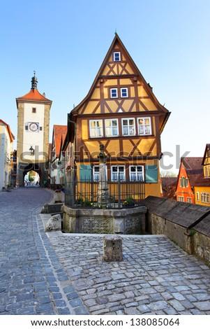 Old street in Rothenburg ob der Tauber, Bavaria, Germany