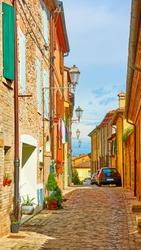 Old street in Santarcangelo di Romagna town, Rimini, Italy