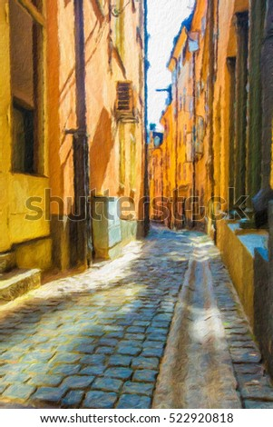 Old street in the Gamlastan area of Stockholm. Oil painting effect.