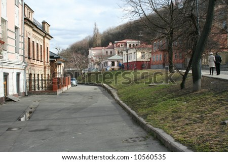 old street in the town - stock photo