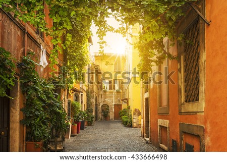 stock photo old street in trastevere in rome italy 433666498 - Каталог — Фотообои «Улицы, переулки»