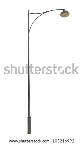 Old street lamppost isolated on white background