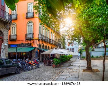 Old street of Centro in Rio de Janeiro. Brazil. Cityscape of center of Rio de Janeiro #1369076438