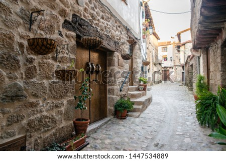Old street of San Martin de Trevejo, Caceres, Extremadura, Spain.