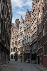 Old street of the historic city center of Antwerpen (Antwerp), Belgium