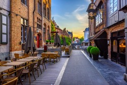 Old street of the historic city center of Bruges (Brugge), West Flanders province, Belgium. Cityscape of Bruges.