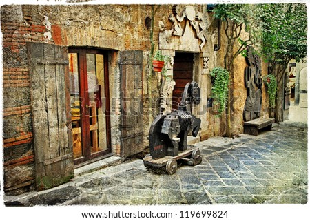old streets in medieval town Orvieto -Italy
